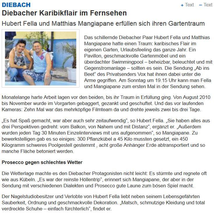 Diebacher Karibikflair im Fernsehen mit Die Fellas Hubert und Matthias