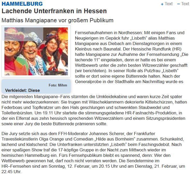 Lisbeth Fella bei der lachenden 11 in HR Der Hessische Rundfunk