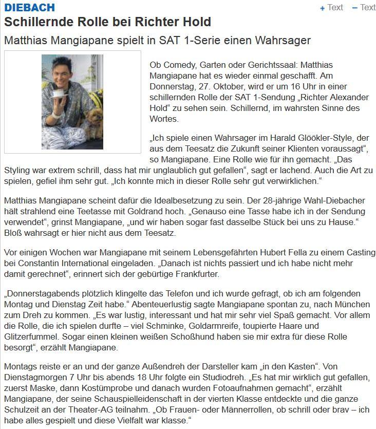 Mainpost Die Fellas Schillernde Rolle bei Richter Hold Sat1 Serie Matthias Mangiapane